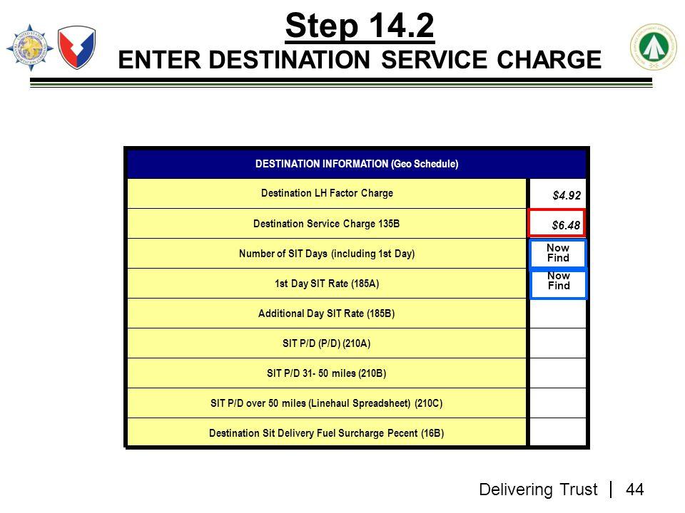 Delivering Trust Step 14.2 ENTER DESTINATION SERVICE CHARGE Destination Sit Delivery Fuel Surcharge Pecent (16B) SIT P/D over 50 miles (Linehaul Sprea