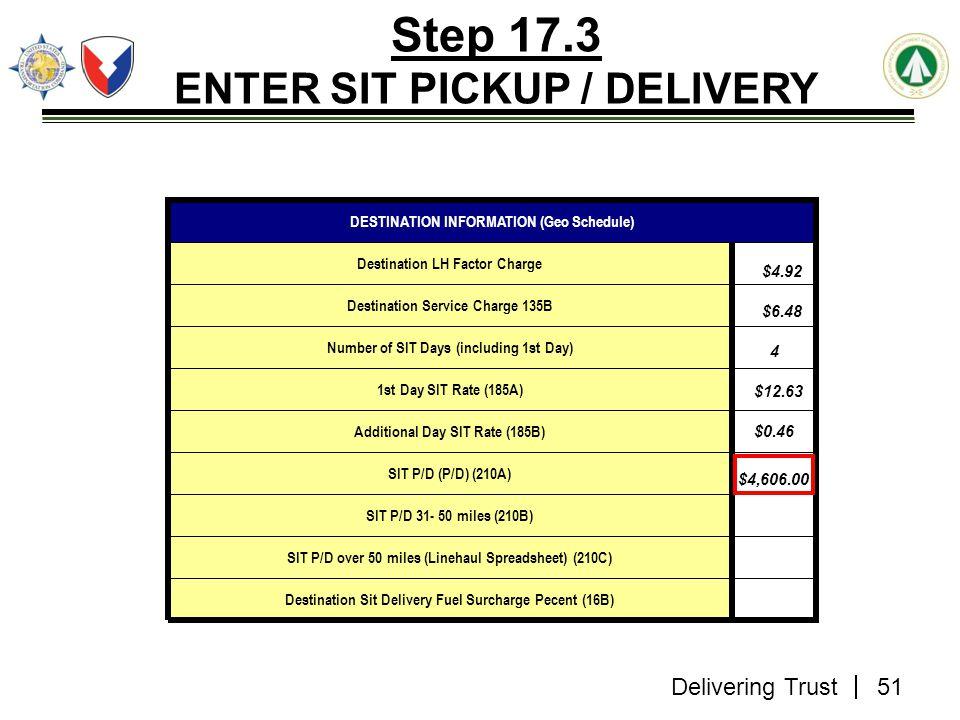 Delivering Trust Step 17.3 ENTER SIT PICKUP / DELIVERY Destination Sit Delivery Fuel Surcharge Pecent (16B) SIT P/D over 50 miles (Linehaul Spreadshee