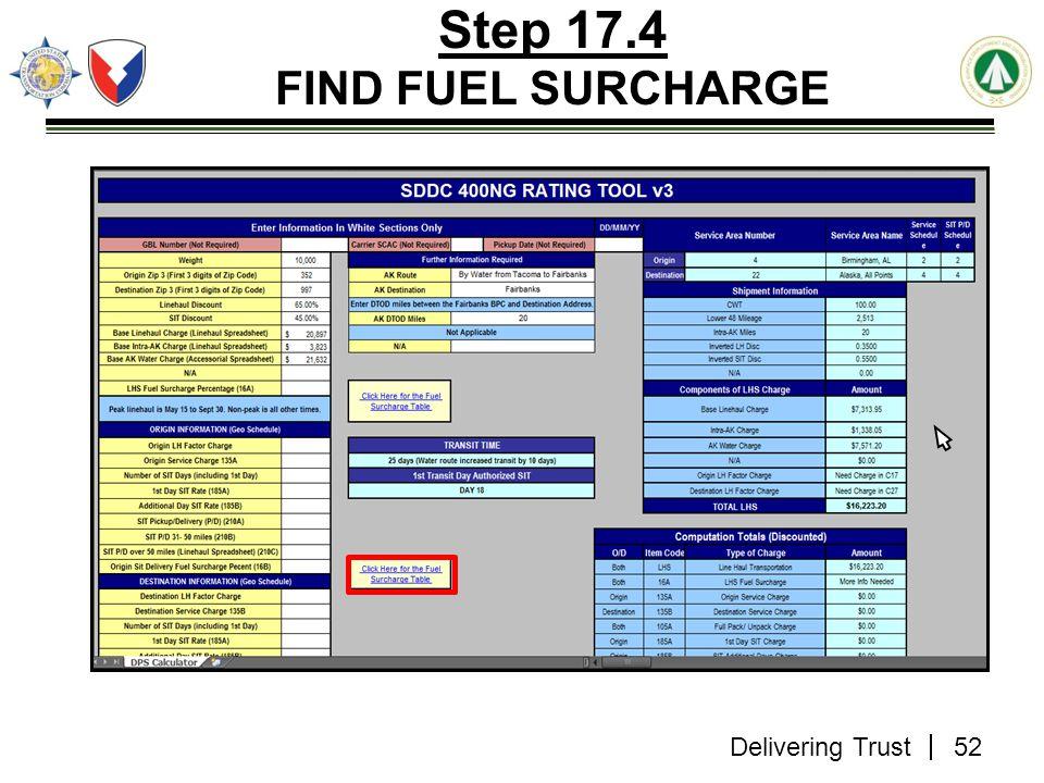 Delivering Trust Step 17.4 FIND FUEL SURCHARGE 52