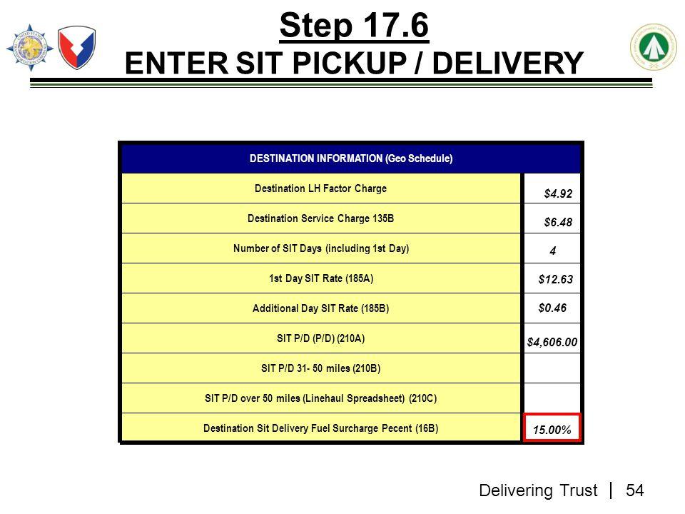 Delivering Trust Step 17.6 ENTER SIT PICKUP / DELIVERY Destination Sit Delivery Fuel Surcharge Pecent (16B) SIT P/D over 50 miles (Linehaul Spreadshee