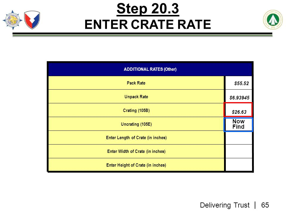 Delivering Trust Step 20.3 ENTER CRATE RATE $55.52 $6.93945 $26.63 Enter Height of Crate (in inches) Enter Width of Crate (in inches) Enter Length of