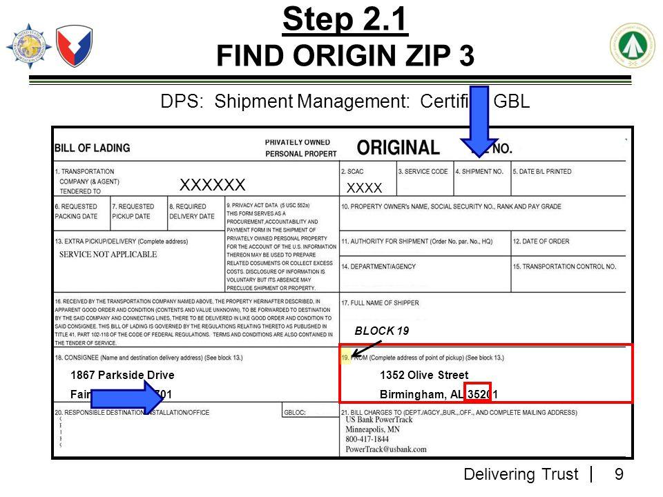 Delivering Trust 40 Step 13.3 Refer to Service Area Number Section SDDC 400NG Rating Tool v3