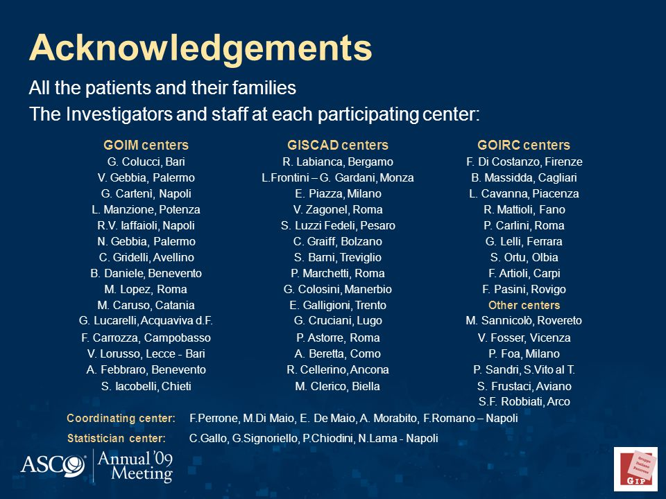 Acknowledgements All the patients and their families The Investigators and staff at each participating center: GOIM centersGISCAD centersGOIRC centers G.