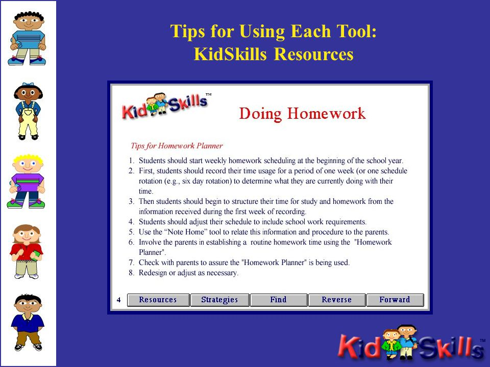 Tips for Using Each Tool: KidSkills Resources ™