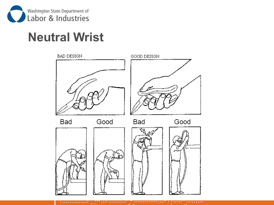 Reduce Flexion or Deviation of Wrist  Design tasks and select tools to reduce extreme flexion or deviation of the wrist