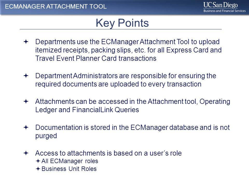 View attachments in FinancialLink Reports ECMANAGER ATTACHMENT TOOL Drilldown on the transaction id number to view the Express Card Statement Detail