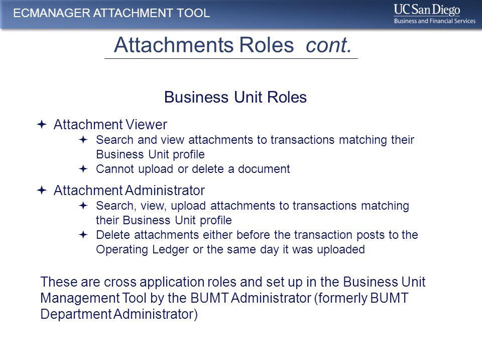 Attachment Roles cont. ECMANAGER ATTACHMENT TOOL