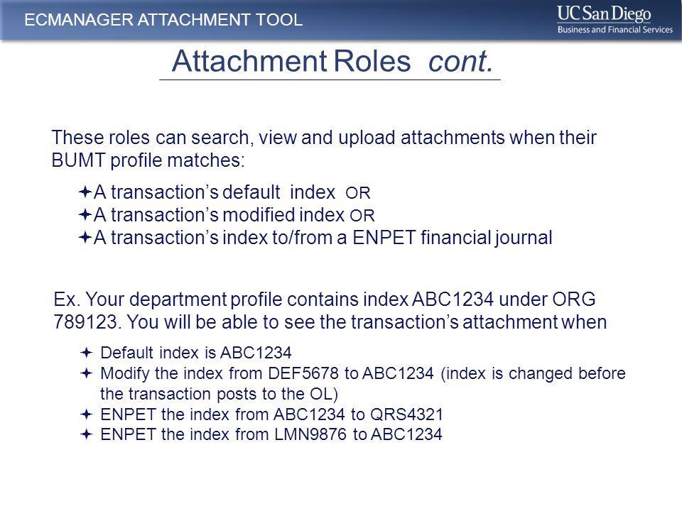 ECMANAGER ATTACHMENT TOOL Access Transactions – email Notification 2.