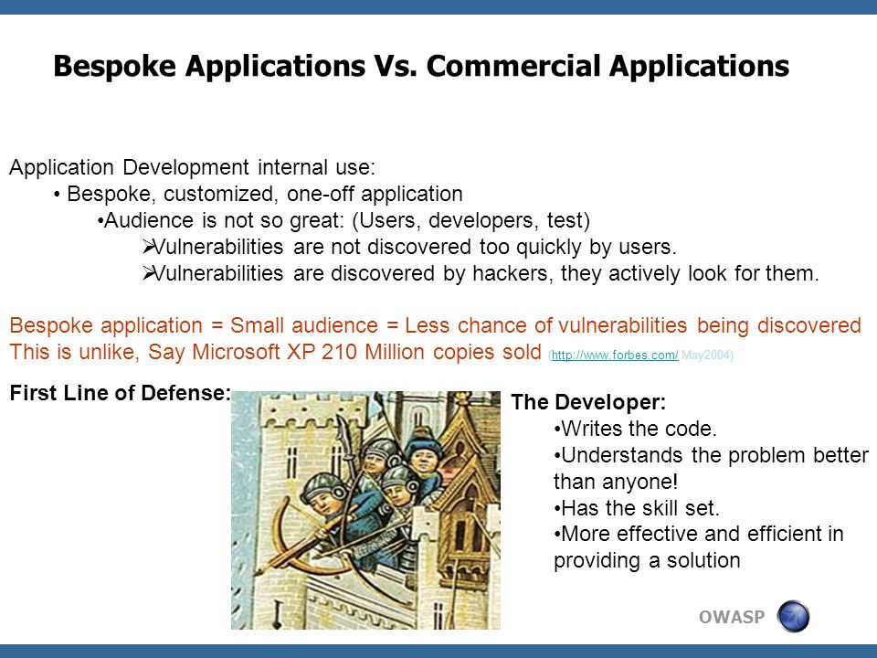 OWASP Bespoke Applications Vs.