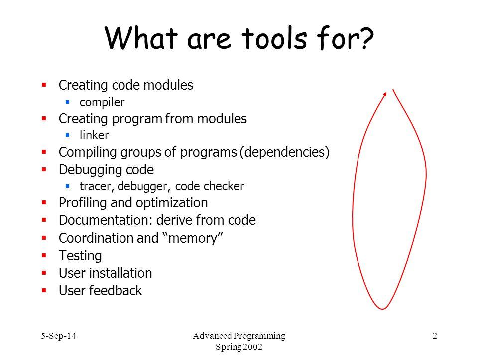 5-Sep-14Advanced Programming Spring 2002 23 make all: hello clean clean: rm –f *.o helper.o: helper.c OBJ = helper.o \ hello.o hello: $(OBJ) $(CC) $(CFLAGS) $(LDFLAGS) –o $@ $(OBJ)