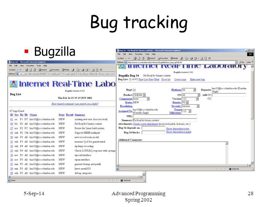 5-Sep-14Advanced Programming Spring 2002 28 Bug tracking  Bugzilla