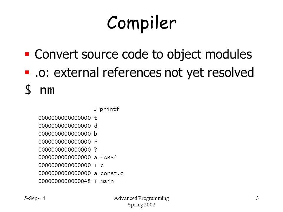 5-Sep-14Advanced Programming Spring 2002 64 dmalloc – memory leaks $ dmalloc -l logfile -i 100 high setenv DMALLOC_OPTIONS debug=0x4f47d03,inter=100,log=logfile  create file #ifdef DMALLOC #include dmalloc.h #endif  link: gcc -g -DDMALLOC dmalloc.c -L/home/hgs/sun5/lib/ - ldmalloc -o dm  run program