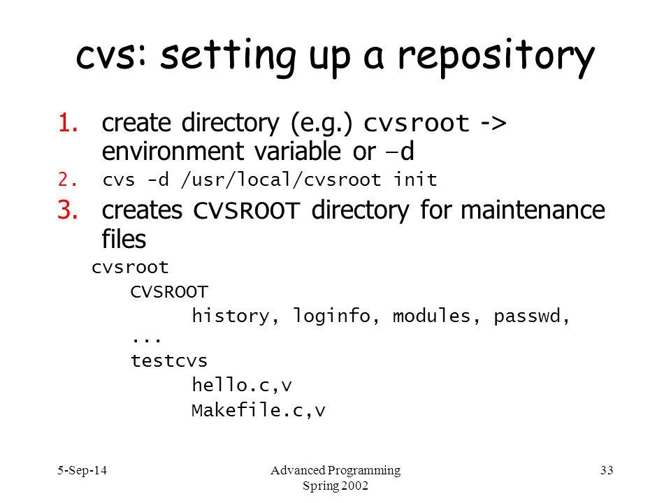 5-Sep-14Advanced Programming Spring 2002 33 cvs: setting up a repository 1.create directory (e.g.) cvsroot -> environment variable or –d 2.cvs -d /usr/local/cvsroot init 3.creates CVSROOT directory for maintenance files cvsroot CVSROOT history, loginfo, modules, passwd,...