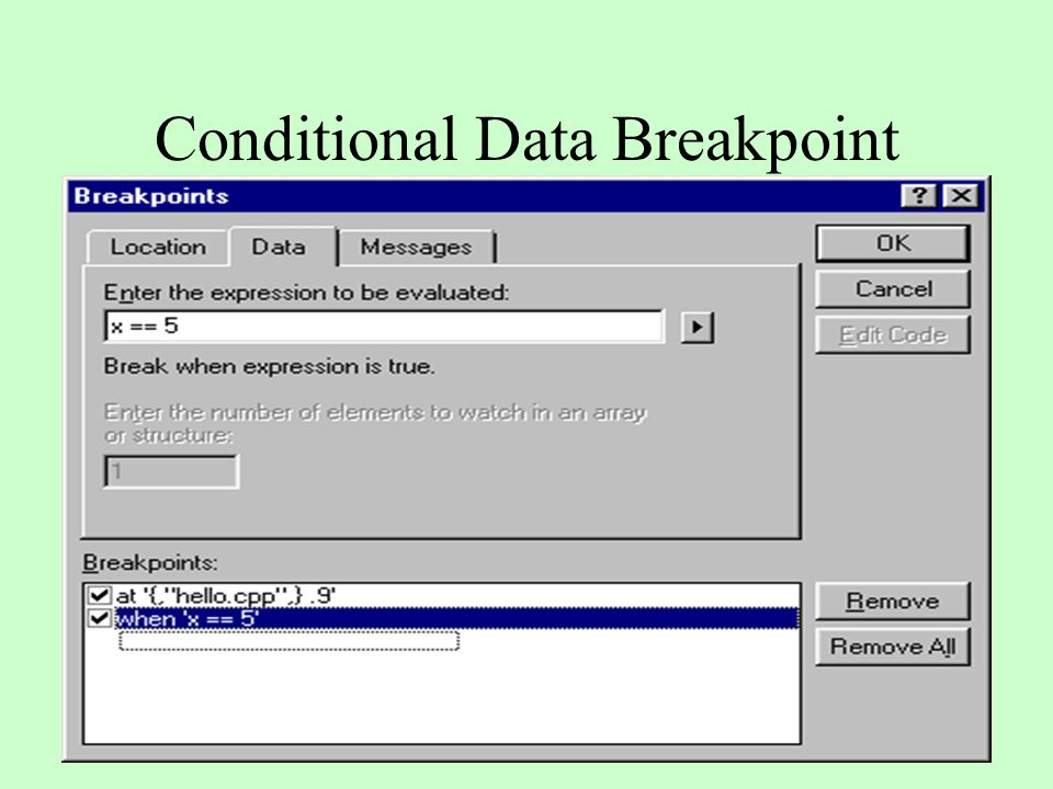 Conditional Data Breakpoint