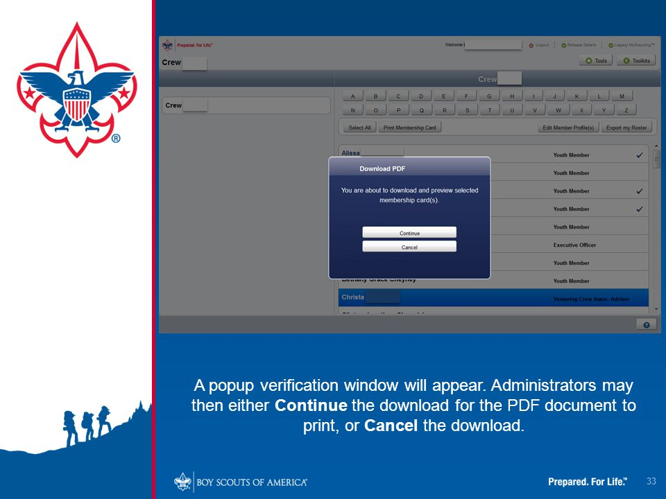 33 A popup verification window will appear. Administrators may then either Continue the download for the PDF document to print, or Cancel the download