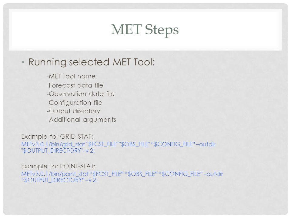 MET Steps Running selected MET Tool: -MET Tool name -Forecast data file -Observation data file -Configuration file -Output directory -Additional argum