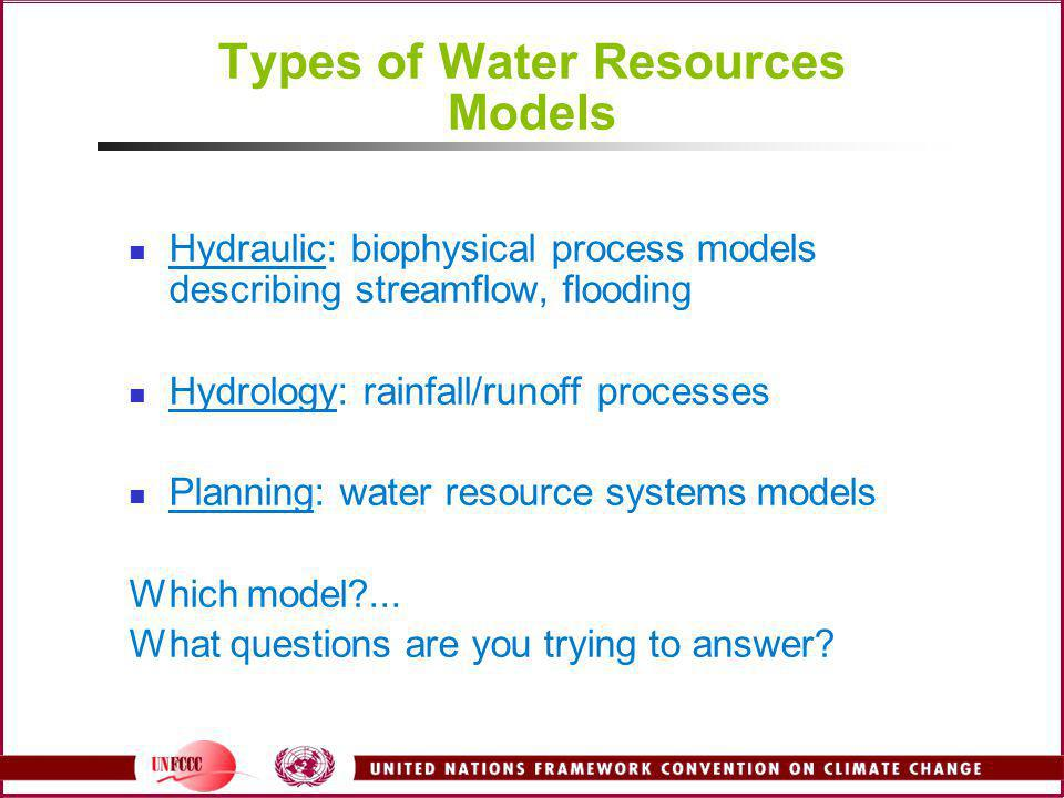 Types of Water Resources Models Hydraulic: biophysical process models describing streamflow, flooding Hydrology: rainfall/runoff processes Planning: w