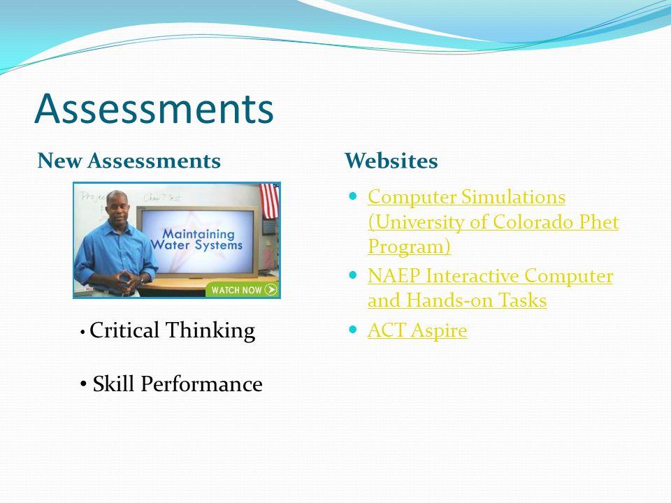 Assessments New Assessments Websites Computer Simulations (University of Colorado Phet Program) Computer Simulations (University of Colorado Phet Prog