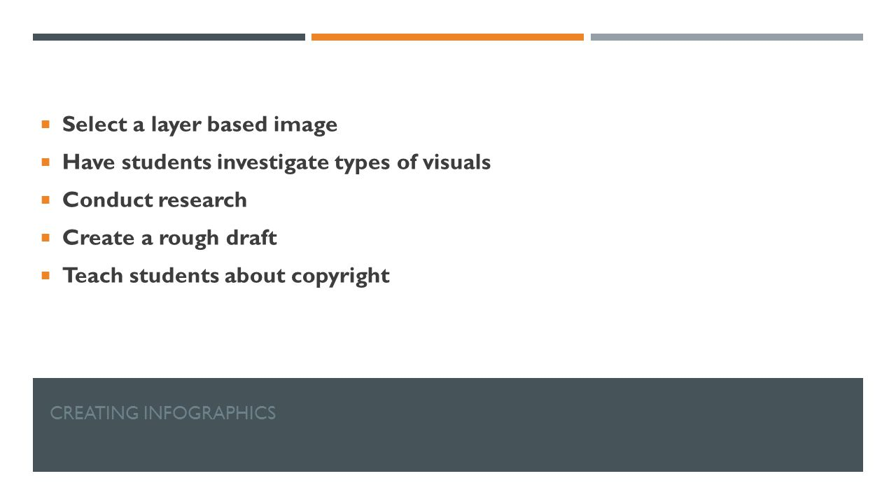CREATING INFOGRAPHICS  Select a layer based image  Have students investigate types of visuals  Conduct research  Create a rough draft  Teach students about copyright