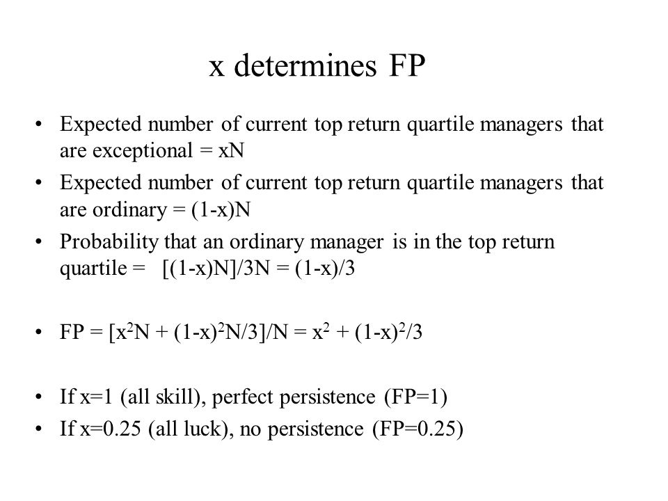 x determines FP Expected number of current top return quartile managers that are exceptional = xN Expected number of current top return quartile managers that are ordinary = (1-x)N Probability that an ordinary manager is in the top return quartile = [(1-x)N]/3N = (1-x)/3 FP = [x 2 N + (1-x) 2 N/3]/N = x 2 + (1-x) 2 /3 If x=1 (all skill), perfect persistence (FP=1) If x=0.25 (all luck), no persistence (FP=0.25)