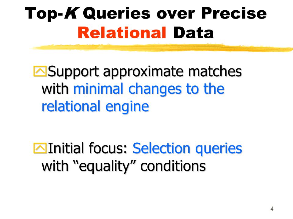 5 Outline zDefinition of top-k queries zExecution alternatives zMapping of top-k queries to selection queries zExperiments