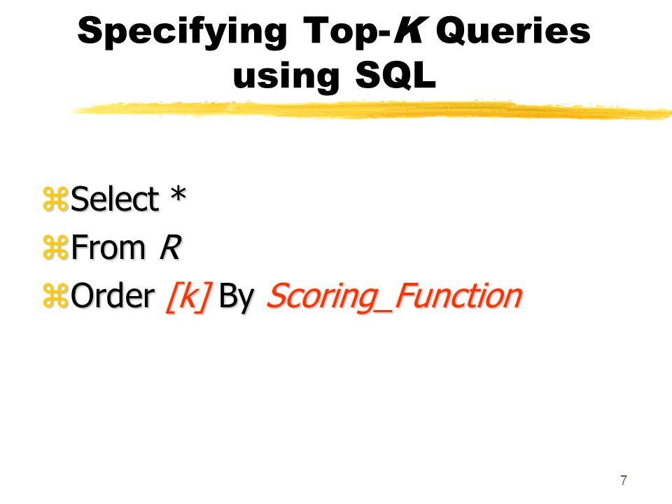 38 Summary zDefined mapping of top-k queries to traditional selection queries Exploit existing database statistics and query processors zStudied effect of scoring functions, data skew, statistics on mapping Full experimental analysis forthcoming!