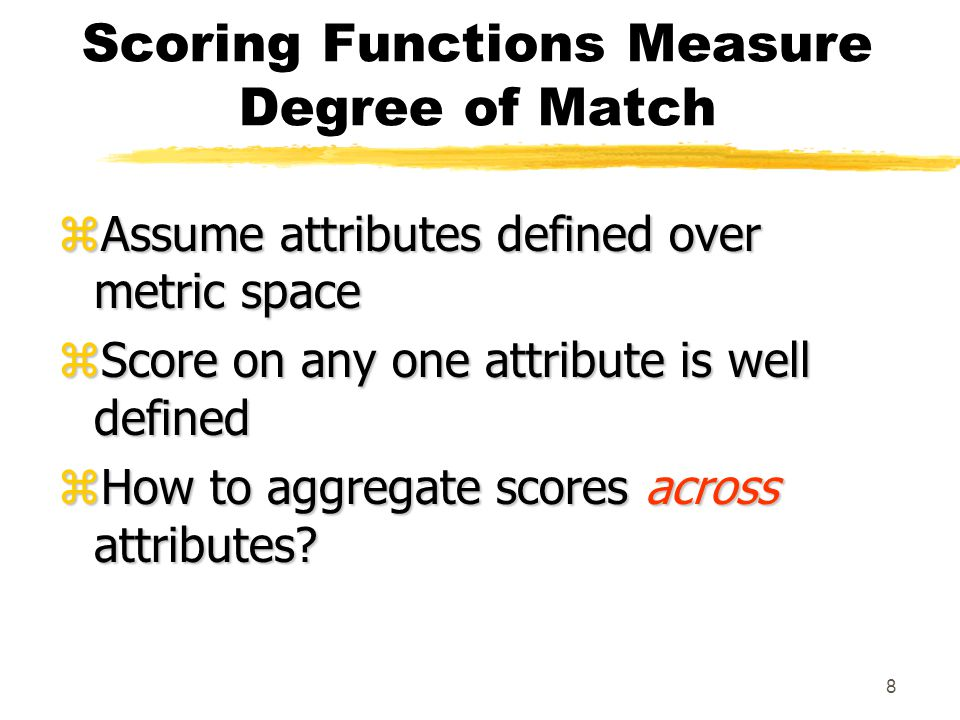 19 Determining Search Scores zFind k points in data zCompute their score zSet search score to lowest score Challenges: yDetermining the initial k points to optimize execution yTaking original query into account
