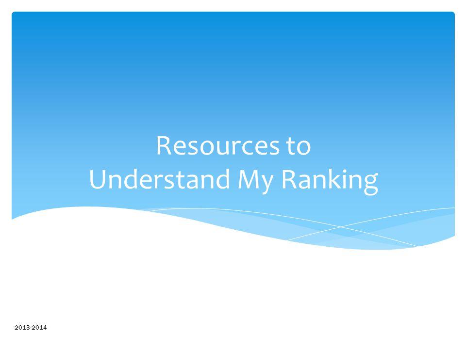 Resources to Understand My Ranking 2013-2014