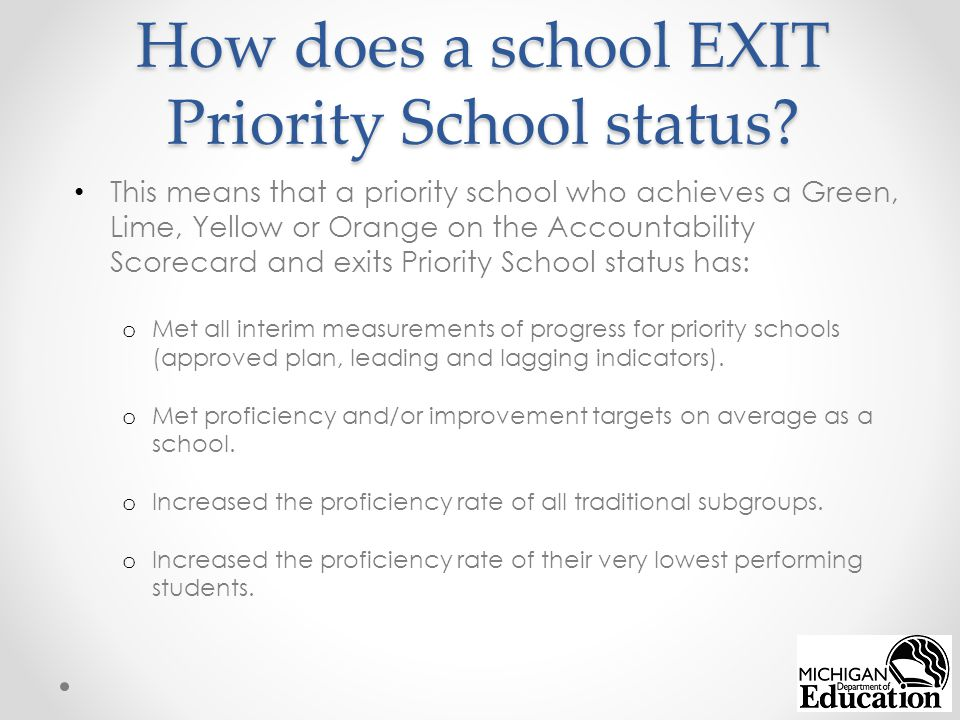 How does a school EXIT Priority School status.