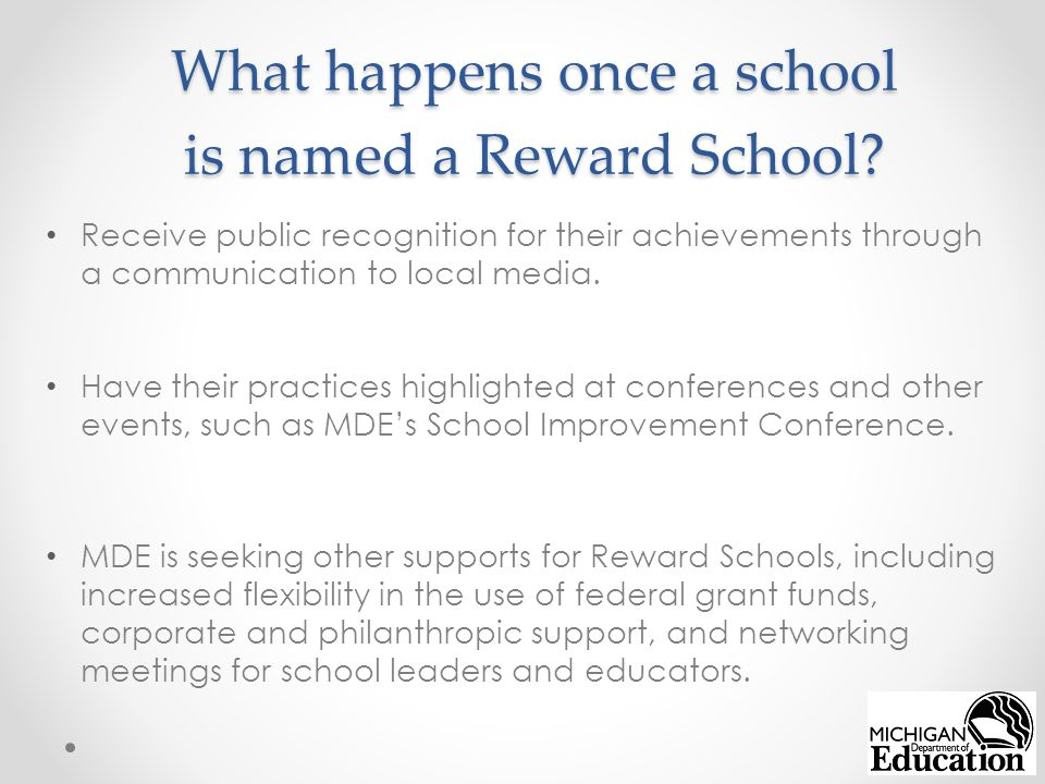 What happens once a school is named a Reward School.