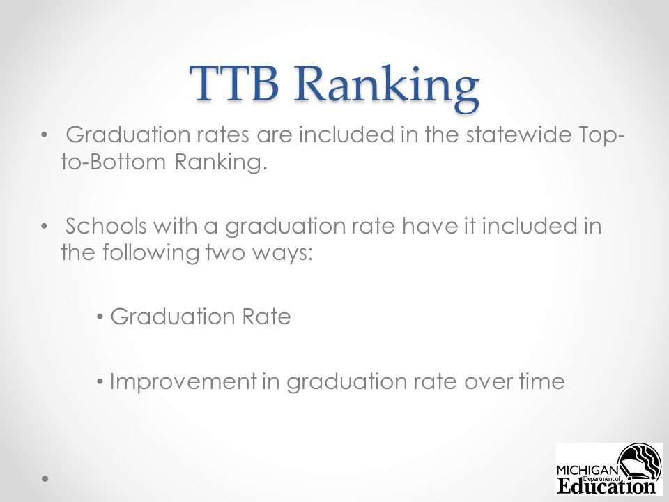 TTB Ranking Graduation rates are included in the statewide Top- to-Bottom Ranking.
