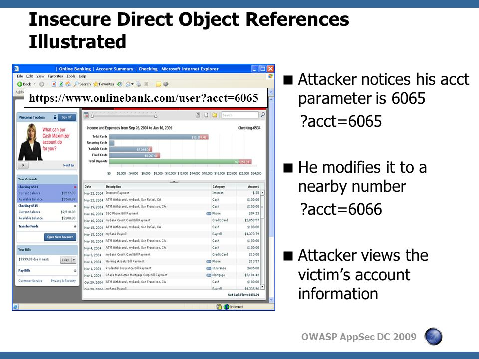 OWASP AppSec DC 2009 Insecure Direct Object References Illustrated  Attacker notices his acct parameter is 6065 acct=6065  He modifies it to a nearby number acct=6066  Attacker views the victim's account information https://www.onlinebank.com/user acct=6065
