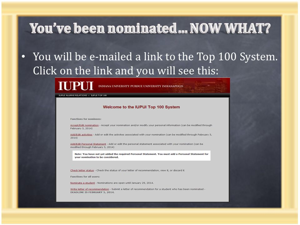 You will be e-mailed a link to the Top 100 System. Click on the link and you will see this: