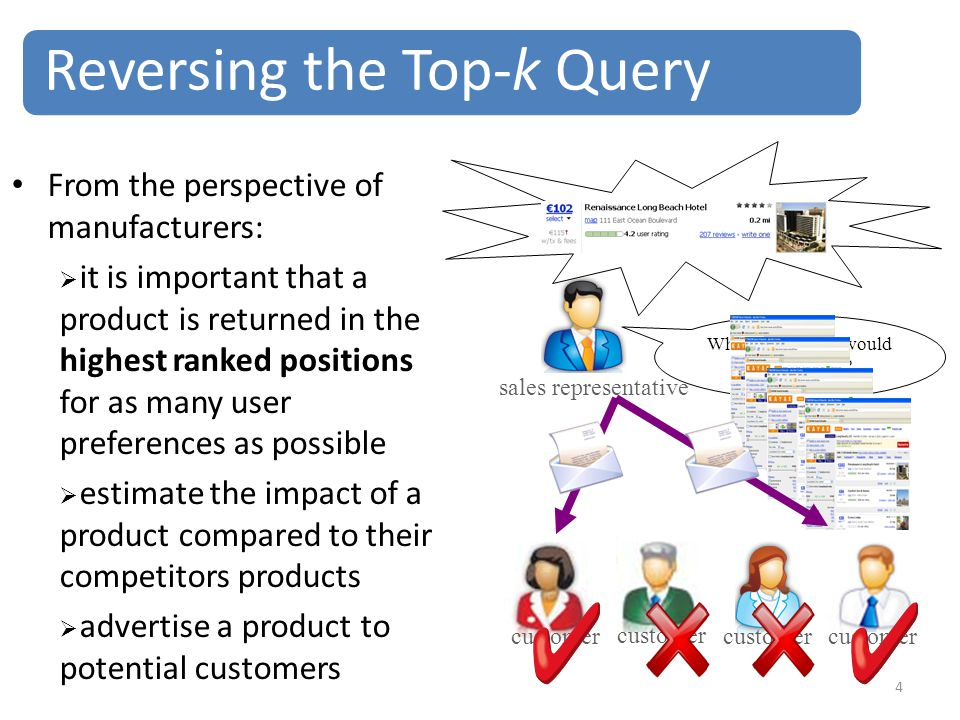 4 From the perspective of manufacturers:  it is important that a product is returned in the highest ranked positions for as many user preferences as possible  estimate the impact of a product compared to their competitors products  advertise a product to potential customers Reversing the Top-k Query sales representative customer Which customers would be interested