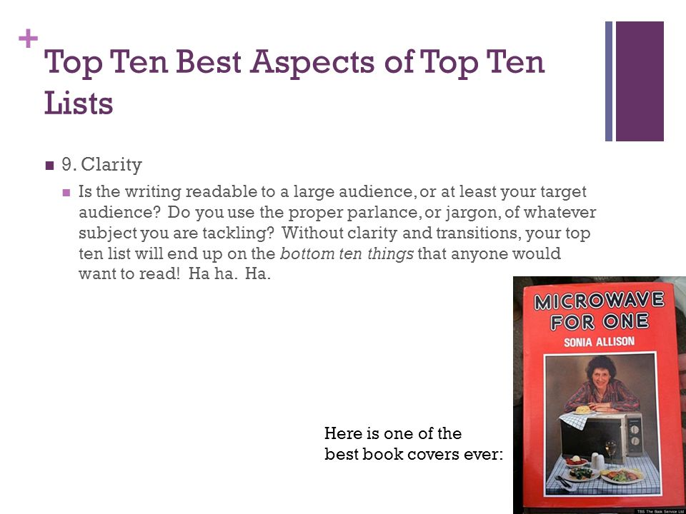 + Top Ten Best Aspects of Top Ten Lists 9.