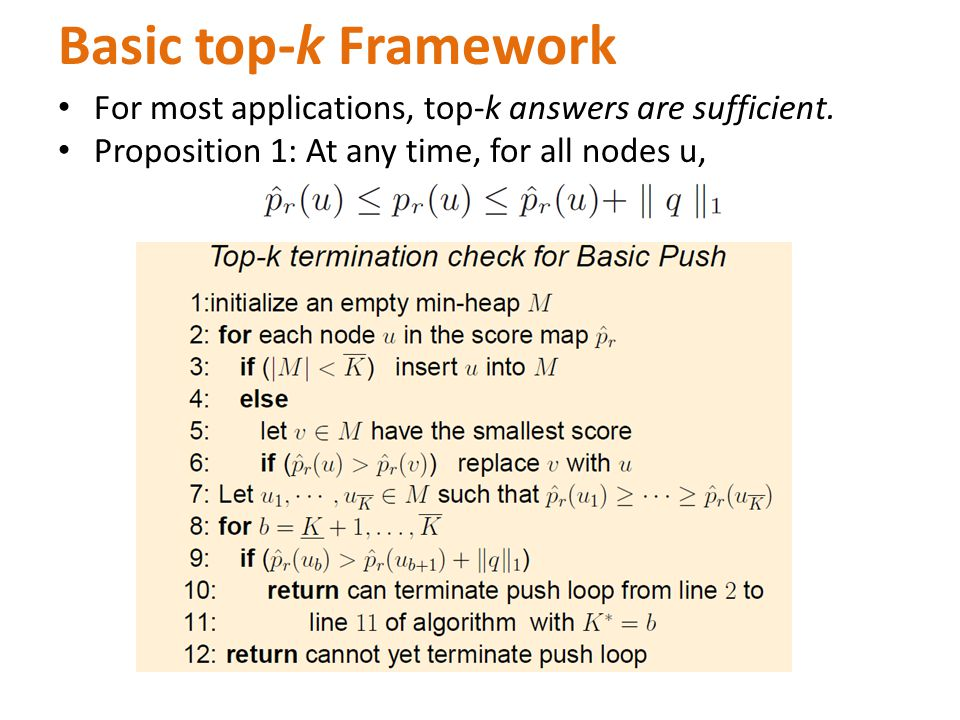 Basic top-k Framework For most applications, top-k answers are sufficient.
