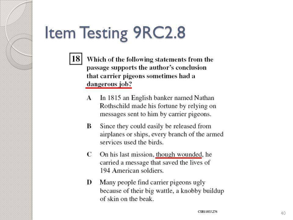 Item Testing 9RC2.8 40