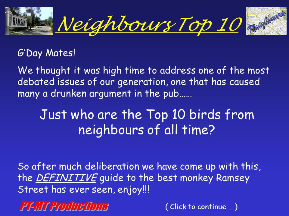 Neighbours Top 10 G'Day Mates.