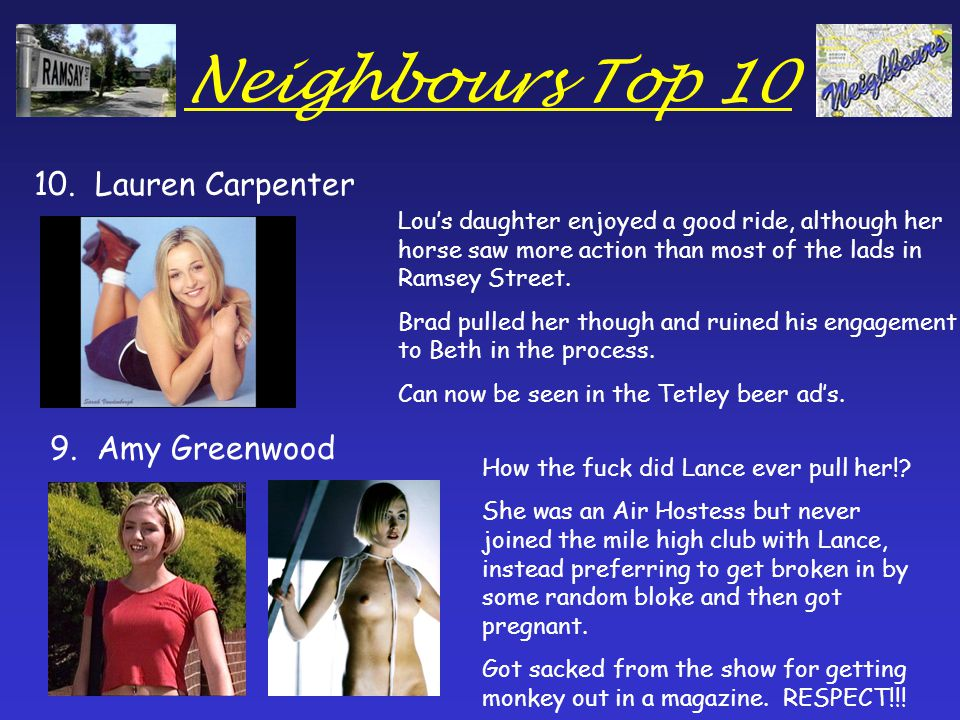 Neighbours Top 10 10. Lauren Carpenter 9.