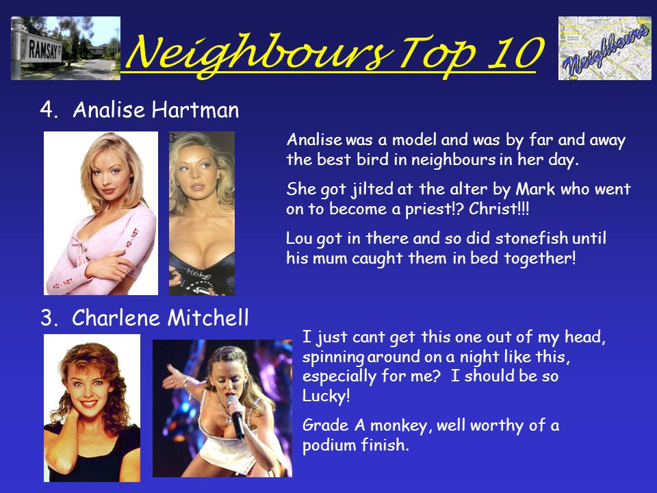 Neighbours Top 10 2.Beth Brennan 1.