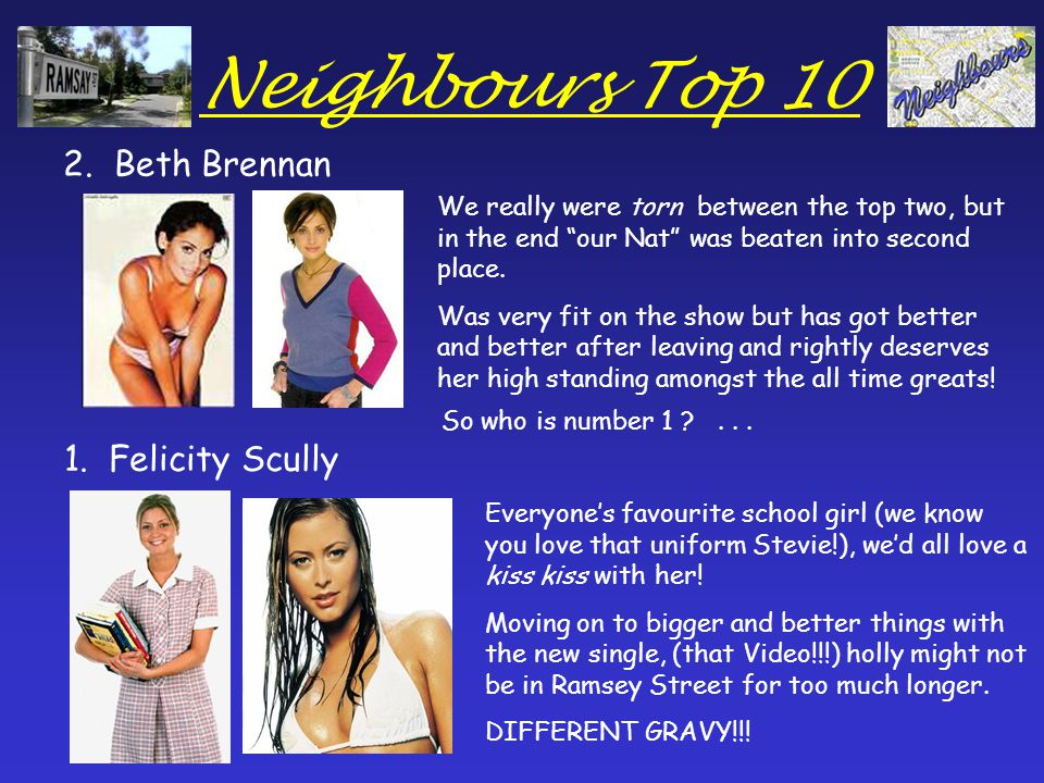 Neighbours Top 10 2. Beth Brennan 1.