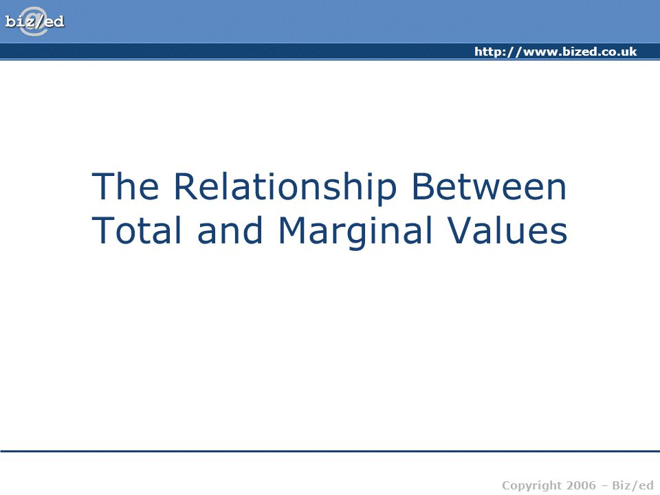 http://www.bized.co.uk Copyright 2006 – Biz/ed The Relationship Between Total and Marginal Values