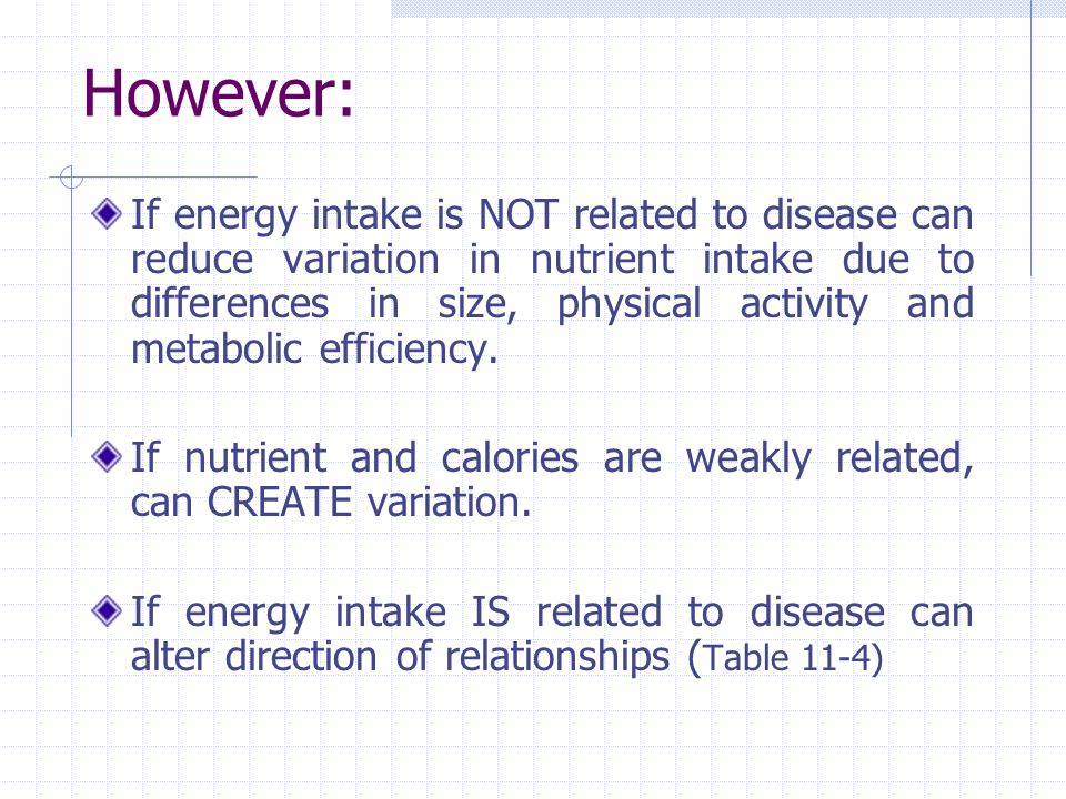However: If energy intake is NOT related to disease can reduce variation in nutrient intake due to differences in size, physical activity and metabolic efficiency.