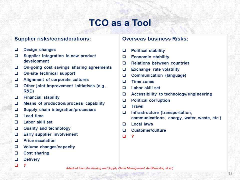 TCO as a Tool Supplier risks/considerations:  Design changes  Supplier integration in new product development  On-going cost savings sharing agreements  On-site technical support  Alignment of corporate cultures  Other joint improvement initiatives (e.g., R&D)  Financial stability  Means of production/process capability  Supply chain integration/processes  Lead time  Labor skill set  Quality and technology  Early supplier involvement  Price escalation  Volume changes/capacity  Cost sharing  Delivery  .