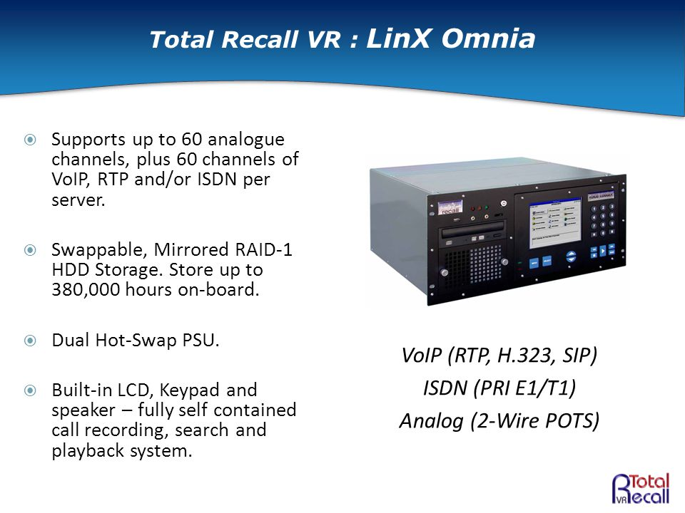  Supports up to 60 analogue channels, plus 60 channels of VoIP, RTP and/or ISDN per server.
