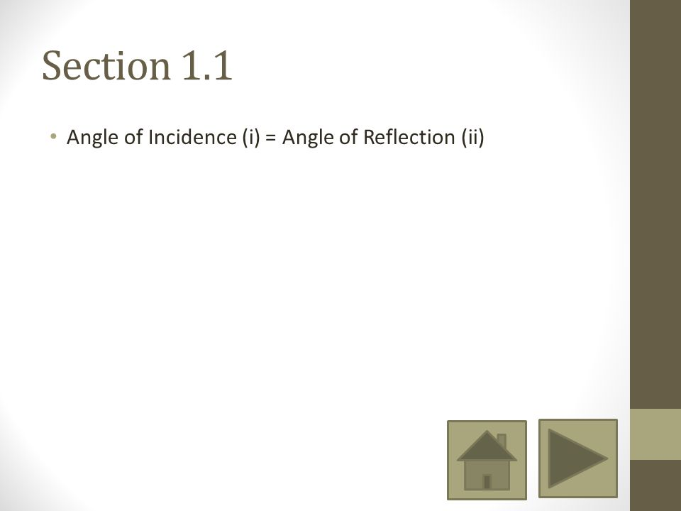 Section 1.1 Angle of Incidence (i) = Angle of Reflection (ii)