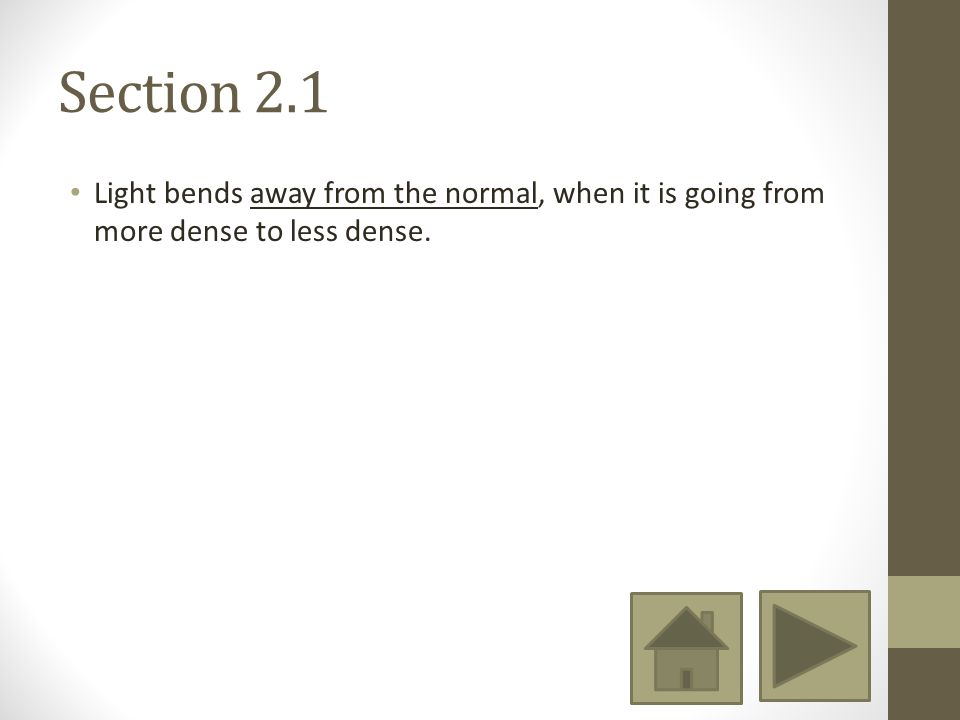 Section 2.1 Light bends away from the normal, when it is going from more dense to less dense.