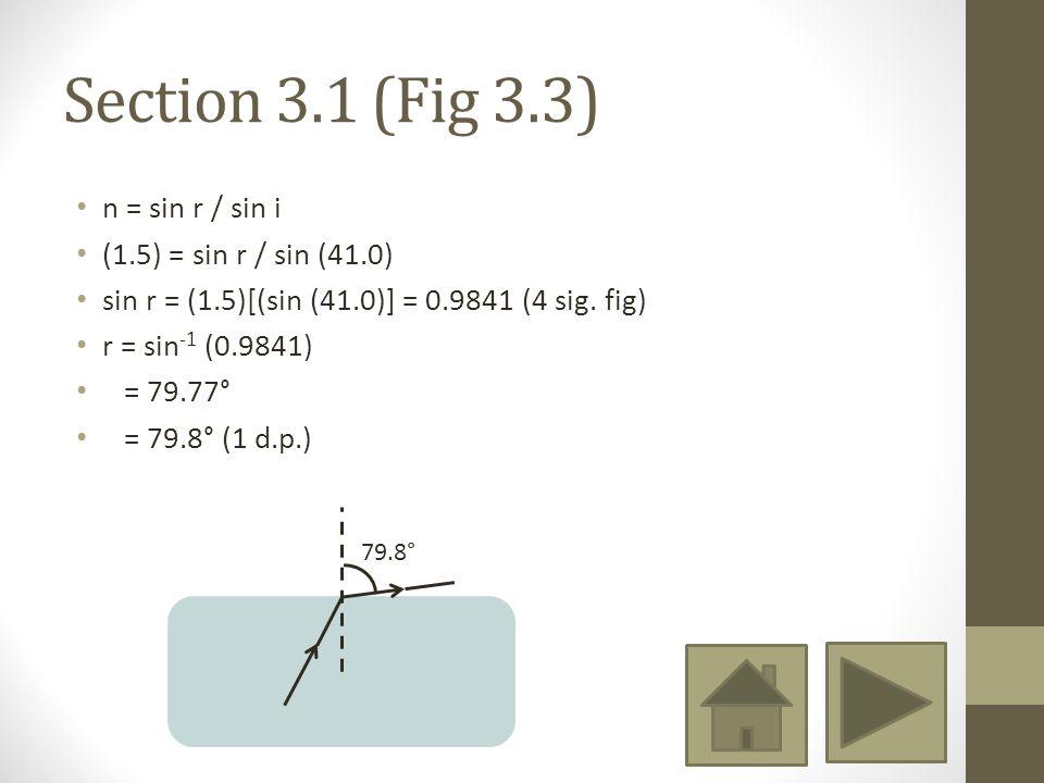 Section 3.1 (Fig 3.3) n = sin r / sin i (1.5) = sin r / sin (41.0) sin r = (1.5)[(sin (41.0)] = 0.9841 (4 sig.