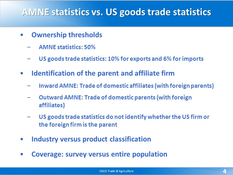 OECD Trade & Agriculture 4 AMNE statistics vs.