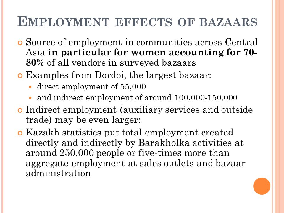 E MPLOYMENT EFFECTS OF BAZAARS Source of employment in communities across Central Asia in particular for women accounting for % of all vendors in surveyed bazaars Examples from Dordoi, the largest bazaar: direct employment of 55,000 and indirect employment of around 100, ,000 Indirect employment (auxiliary services and outside trade) may be even larger: Kazakh statistics put total employment created directly and indirectly by Barakholka activities at around 250,000 people or five-times more than aggregate employment at sales outlets and bazaar administration